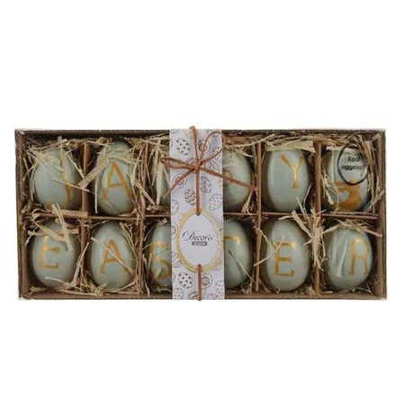 PAASEI HAPPY EASTER D4X6CM 12/BOX GROEN